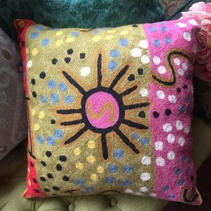 Wool embroidered ethnic boho throw pillow anthro